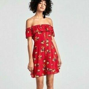 ZARA Woman Over The Shoulder Floral Dress